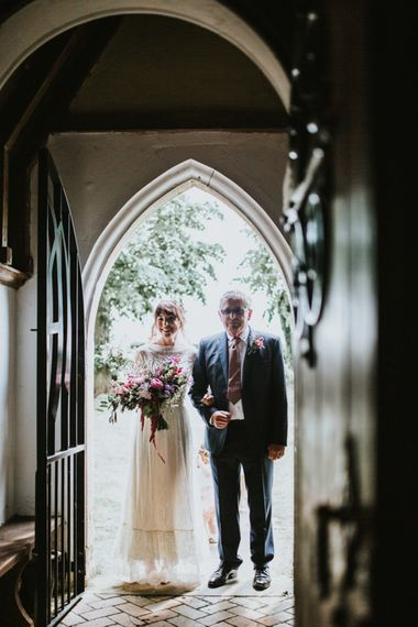 Bride in Katya Katya Gown | Fishley Hall Rustic Barn Wedding | Darina Stoda Photography