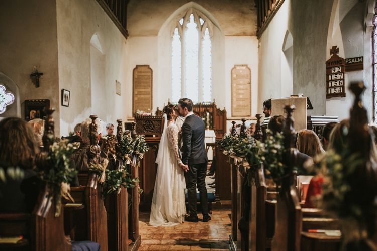 Wedding Ceremony | Bride in Katya Katya Gown | Groom in Ted Baker Suit | Fishley Hall Rustic Barn Wedding | Darina Stoda Photography