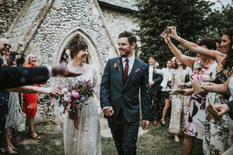 Confetti Moment | Bride in Katya Katya Gown | Groom in Ted Baker Suit | Fishley Hall Rustic Barn Wedding | Darina Stoda Photography