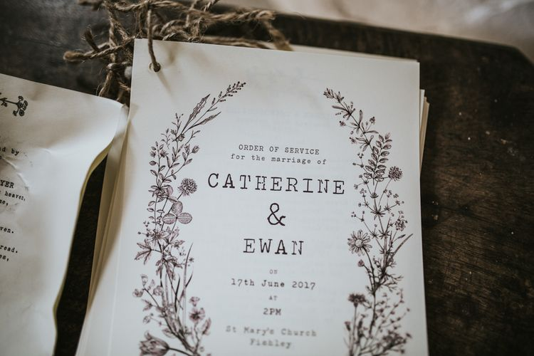 Order of Service Wedding Stationery | Fishley Hall Rustic Barn Wedding | Darina Stoda Photography