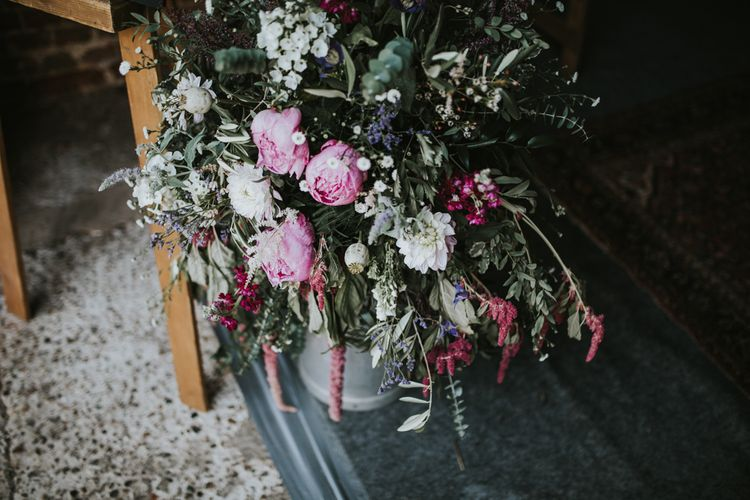 Berry Organic Flower Arrangement | Fishley Hall Rustic Barn Wedding | Darina Stoda Photography