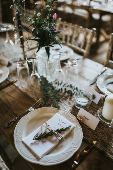 Elegant Place Setting | Fishley Hall Rustic Barn Wedding | Darina Stoda Photography