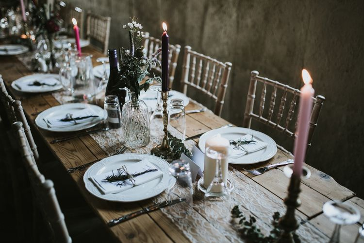 Candlestick Wedding Decor | Fishley Hall Rustic Barn Wedding | Darina Stoda Photography