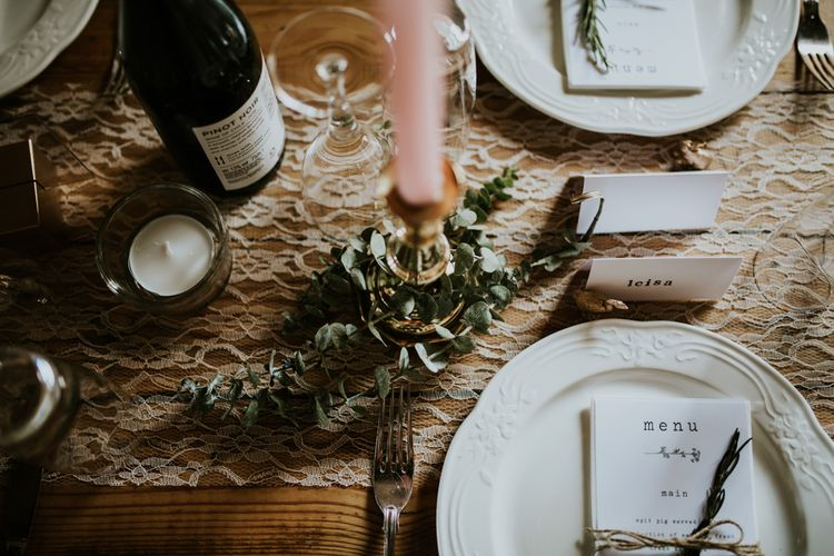 Place Setting | Fishley Hall Rustic Barn Wedding | Darina Stoda Photography