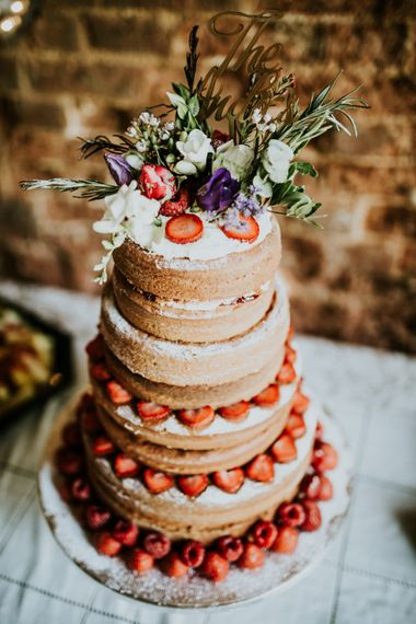 Victoria Sponge Naked Wedding Cake | Fishley Hall Rustic Barn Wedding | Darina Stoda Photography