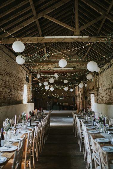 String Lights | Hanging Paper Lanterns | Fishley Hall Rustic Barn Wedding | Darina Stoda Photography