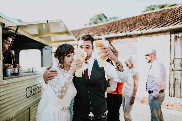 Crepes | Bride in Katya Katya Gown | Groom in Ted Baker Suit | Fishley Hall Rustic Barn Wedding | Darina Stoda Photography