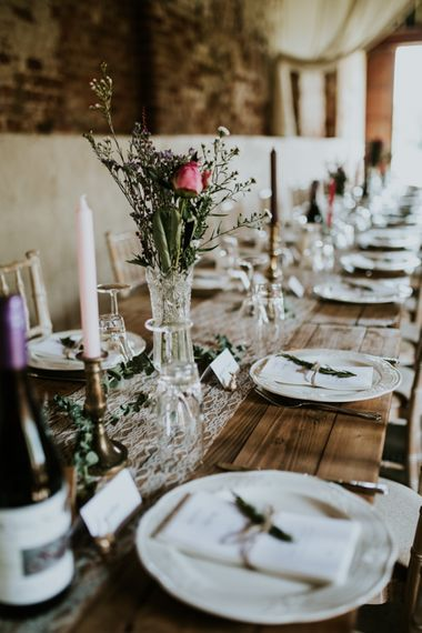 Trestle Tablescape | Fishley Hall Rustic Barn Wedding | Darina Stoda Photography