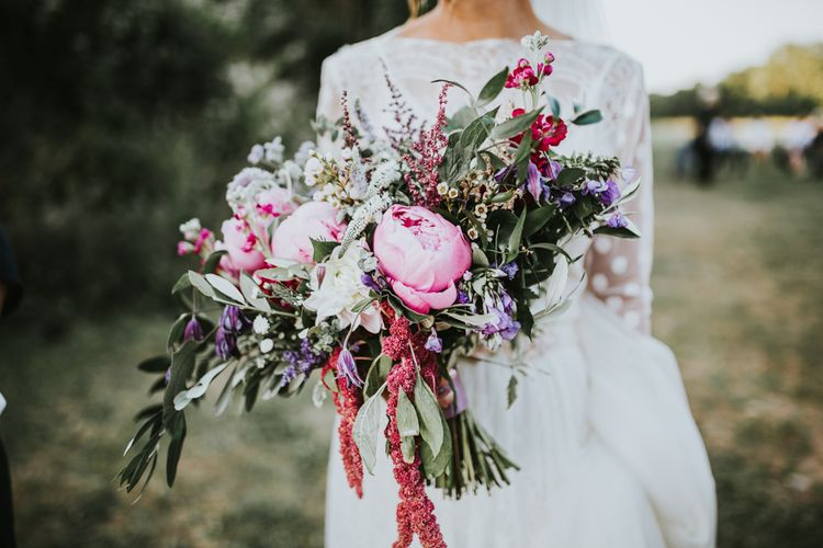 Swaffam Flowers Berry Bouquet | Katya Katya Gown | Fishley Hall Rustic Barn Wedding | Darina Stoda Photography