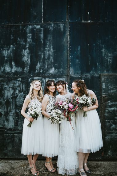 Bride in Katya Katya Gown | Bridesmaids in Needle & Thread Dresses | Fishley Hall Rustic Barn Wedding | Darina Stoda Photography