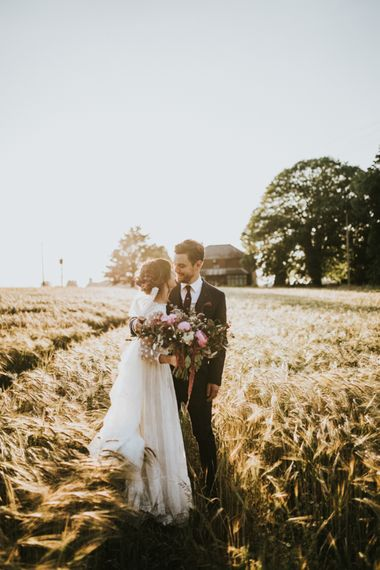 Golden Hour Portrait | Bride in Katya Katya Gown | Groom in Ted Baker Suit | Fishley Hall Rustic Barn Wedding | Darina Stoda Photography