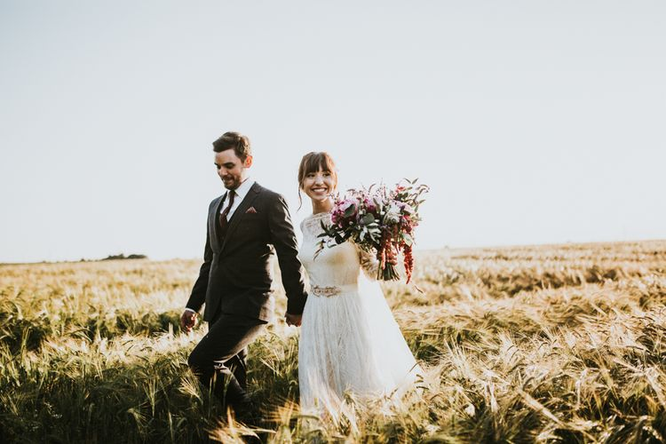Bride in Katya Katya Gown | Groom in Ted Baker Suit | Fishley Hall Rustic Barn Wedding | Darina Stoda Photography