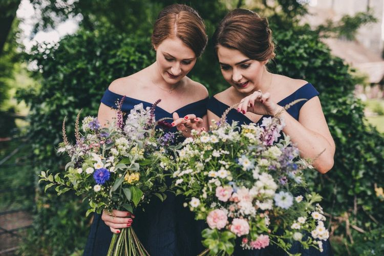Wildflower Wedding Bouquets For Bridesmaids In Navy