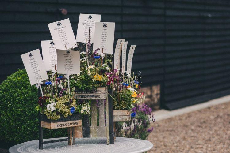 Wooden Palette & Wildflower Table Plan