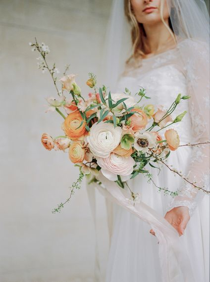 Organic & Textural Bridal Bouquet With Anemones & Coral Accents