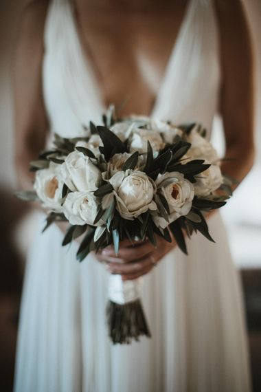 White Rose Wedding Bouquet // Elegant Destination Wedding In Tuscany At San Galgano Abbey With Bride In Bespoke Dress By Madame Paulette With Images From James Frost Photography