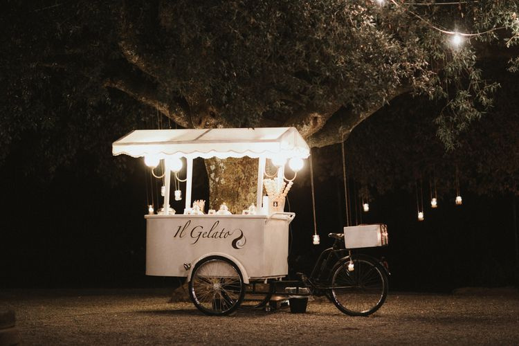 Gelato Van For Tuscany Destination Wedding // Elegant Destination Wedding In Tuscany At San Galgano Abbey With Bride In Bespoke Dress By Madame Paulette With Images From James Frost Photography