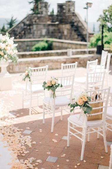 Peach Rose Petal Aisle