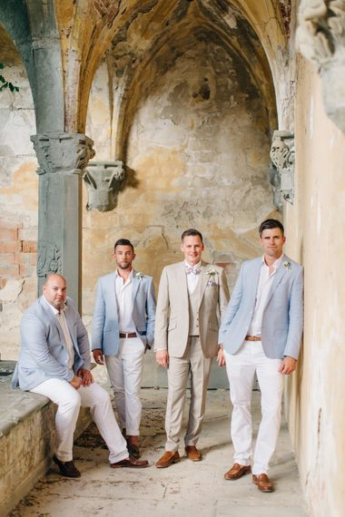 Groomsmen in Chino's & Pale Blue Jackets