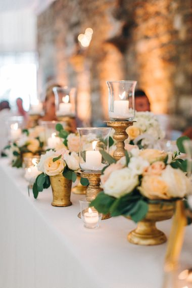 Candles & Peach Rose Wedding Decor