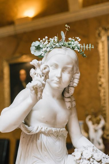 Statue with Flower Crown | Classic Blue & White Wedding at Prestwold Hall in Loughborough | Georgina Harrison Photography