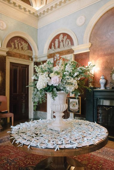 White Floral Arrangement | Classic Blue & White Wedding at Prestwold Hall in Loughborough | Georgina Harrison Photography