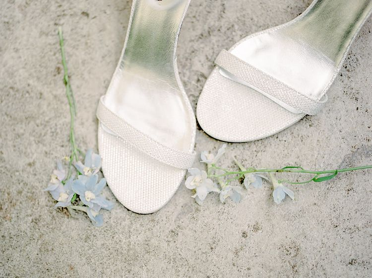 Silver Steve Madden Shoes | Classic Blue & White Wedding at Prestwold Hall in Loughborough | Georgina Harrison Photography