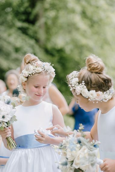 Flower Girls with Flower Crowns | Classic Blue & White Wedding at Prestwold Hall in Loughborough | Georgina Harrison Photography