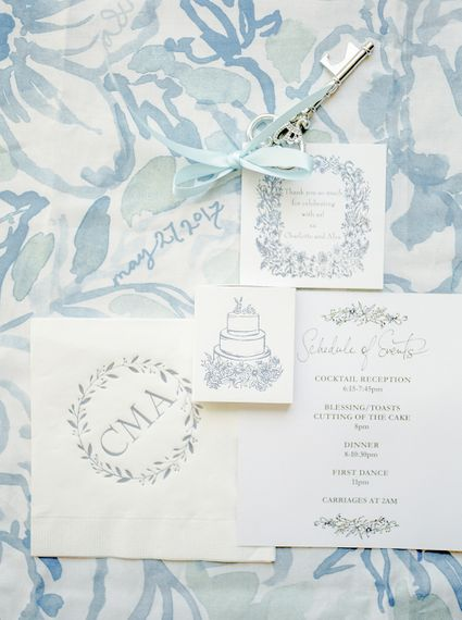 Hand Printed Wedding Stationery | Classic Blue & White Wedding at Prestwold Hall in Loughborough | Georgina Harrison Photography
