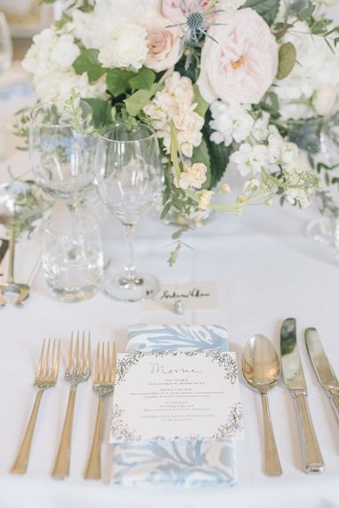 Elegant Place Setting | Classic Blue & White Wedding at Prestwold Hall in Loughborough | Georgina Harrison Photography