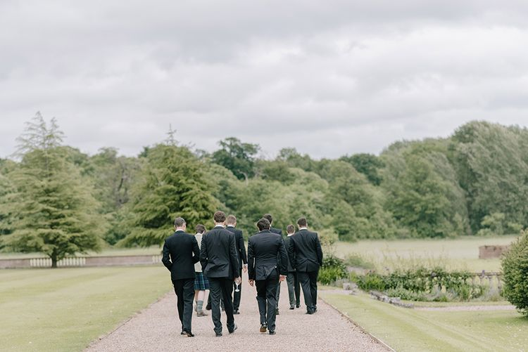 Groomsmen in Black Tuxedos | Classic Blue & White Wedding at Prestwold Hall in Loughborough | Georgina Harrison Photography