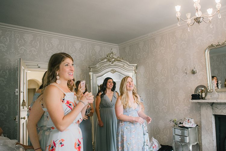Bridesmaids in Different Coloured Pale Blue Dresses | Classic Blue & White Wedding at Prestwold Hall in Loughborough | Georgina Harrison Photography