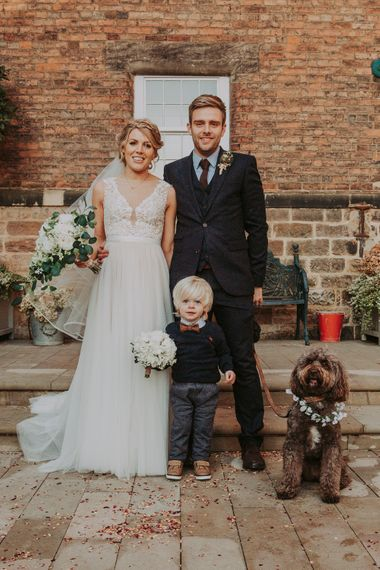 Winter Wedding At The West Mill Derby With Bride In Wtoo By Watters And Groom In Blue Tweed Suit From Next With Images By Bloom Photography