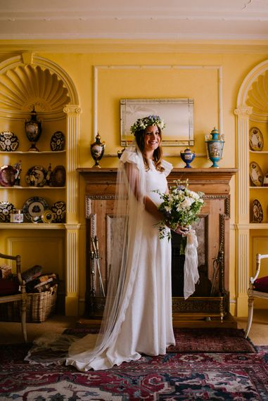 Bride in Gown from The Mews Bridal | Bright Festival Themed At Home Wedding in a Tipi | McGivern Photography