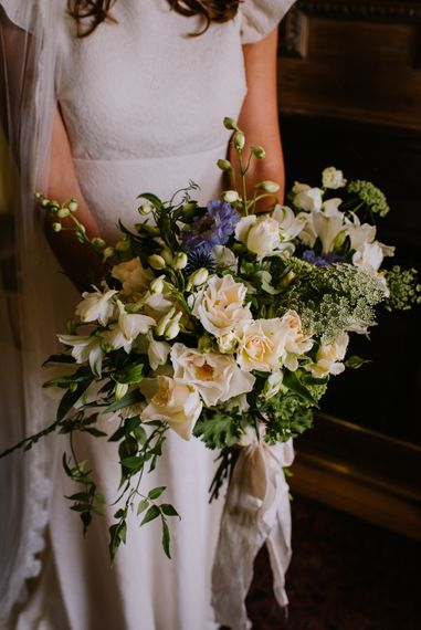 White & Blue Bridal Bouquet | Bright Festival Themed At Home Wedding in a Tipi | McGivern Photography