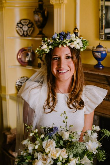 Bridal Flower Crown | Bright Festival Themed At Home Wedding in a Tipi | McGivern Photography