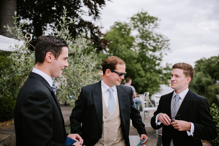 Groomsmen in Marks and Spencer Morning Suits | Bright Festival Themed At Home Wedding in a Tipi | McGivern Photography