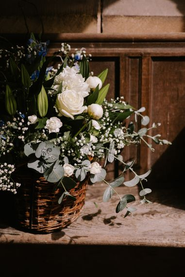 White & Greenery Floral Arrangement | Bright Festival Themed At Home Wedding in a Tipi | McGivern Photography