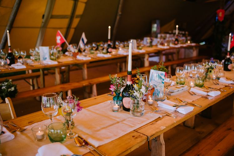 Rustic Table Scape with DIY Decor & Wild Floral Arrangements | Bright Festival Themed At Home Wedding in a Tipi | McGivern Photography