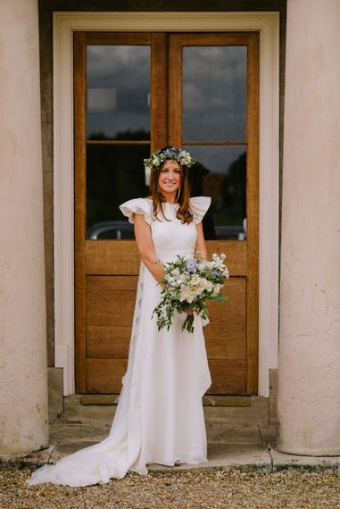 Beautiful Bride in The Mews Bridal Gown & Flower Crown | Bright Festival Themed At Home Wedding in a Tipi | McGivern Photography