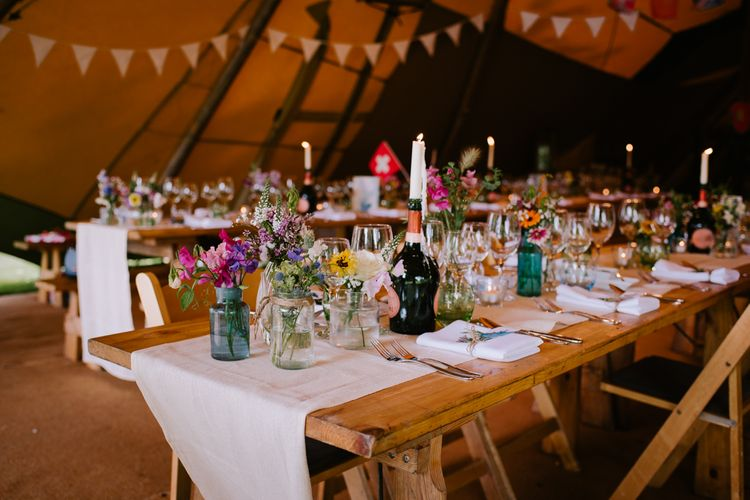 Rustic Tablescape | Bright Festival Themed At Home Wedding in a Tipi | McGivern Photography
