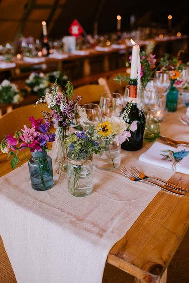 Wild Flowers in Jars | Wedding Decor | Bright Festival Themed At Home Wedding in a Tipi | McGivern Photography
