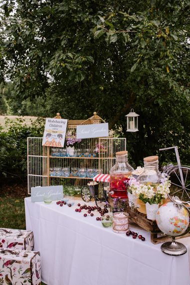 Cocktail Station | Drinks Dispensers | Bright Festival Themed At Home Wedding in a Tipi | McGivern Photography
