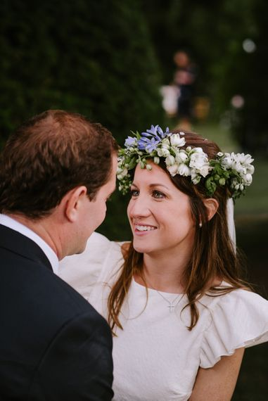 Beautiful Bride in White & Blue Flower Crown | Bright Festival Themed At Home Wedding in a Tipi | McGivern Photography