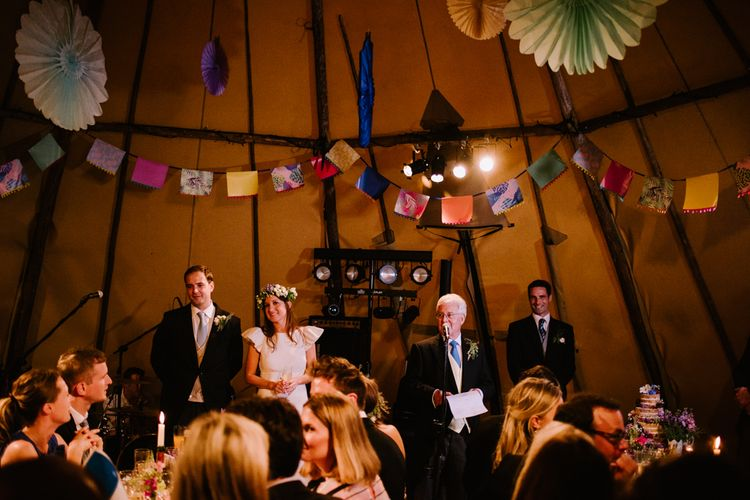 Wedding Speeches | Bright Festival Themed At Home Wedding in a Tipi | McGivern Photography