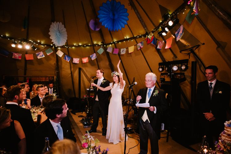 Wedding Speeches | Bright Wedding Decor | Bright Festival Themed At Home Wedding in a Tipi | McGivern Photography