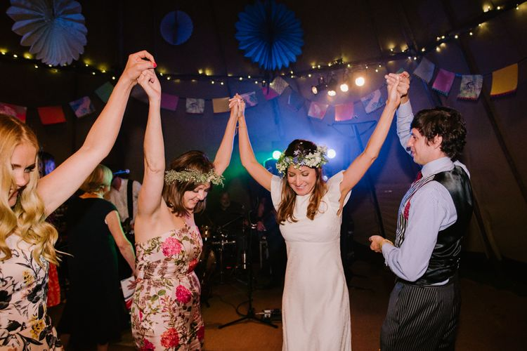 Wedding Reception Party | Bright Festival Themed At Home Wedding in a Tipi | McGivern Photography
