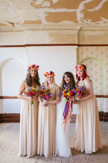 Bridesmaids in Gold Dresses & Colourful Bouquets