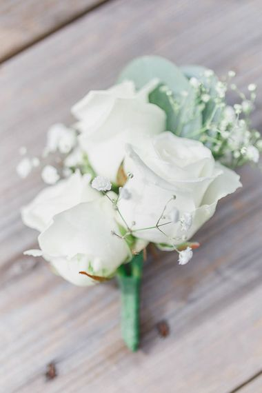 All White Rose Buttonhole