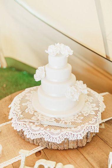 Homemade Three Tier Wedding Cake on Tree Slab Cake Stand